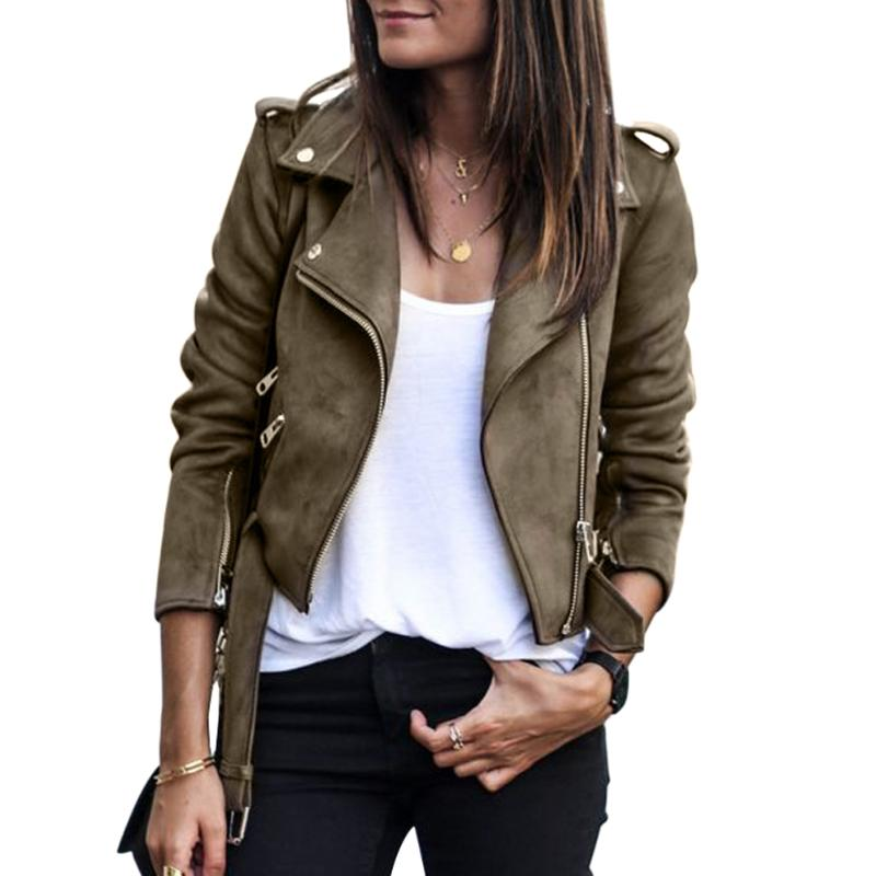 Women Faux Leather Suede Short   Jackets   Female Long Sleeve Solid Turn Down Collar Coat Winter Streetwear Slim   Basic     Jackets