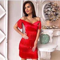 Off The Shoulder Tassel Sexy Dress Celelbirty Elegant Low bosom Night Club Bodycon Party Christmas Red Black Dresses Mini