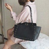Bag For Women 2018 New Fashion Handbags Purses Studded Shoulder Bag Shopper White Leather Casual Black Handbag Ladies Sling Bag