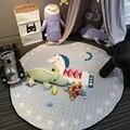 Encantador Dos Desenhos Animados De Madeira Do Carrossel Cavalo Multifuncional Jogo Do Bebê Tapetes Antiderrapantes Tapete Engatinhando Tapete Cobertor Saco de Armazenamento De Brinquedos Infantis