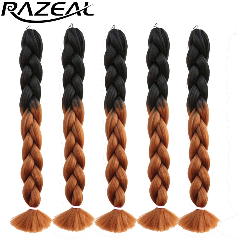 Hair Braids Razeal 24 Inch 100g Ombre Jumbo Braids 5 Pcs Synthetic Brading Hair Extensions Crochet Hair High Temperature Fiber