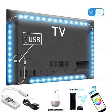 DC 5V USB WIFI TV Light Computer Screen Back Bias Tape Light 5050 RGB LED TV Back Lighting Alexa Google Home Sound Smart Control