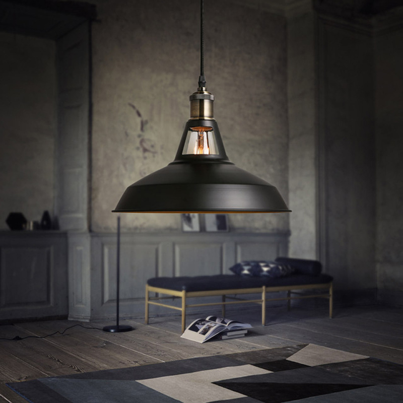 Nordic retro wrought iron industrial style e27 pendant for Suspension luminaire filaire