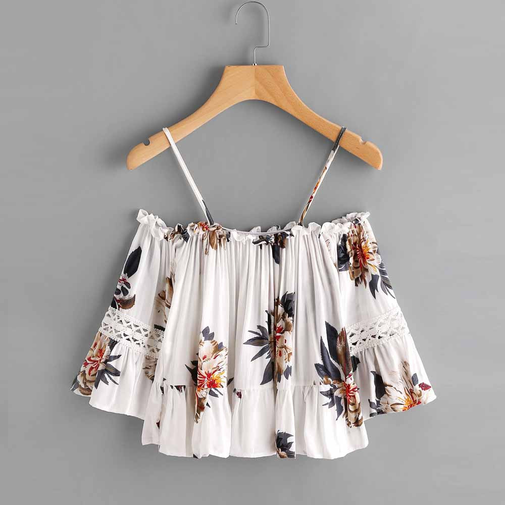Top Women Crop-Top Peplum Racerback Off-Shoulder Sexy Camis Lace Floral-Printing Casual