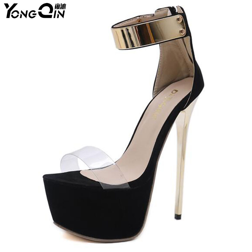 2018 New Transparent High-heeled Women Sandals Sexy Waterproof  Sandals Shoes Plus Size 35-40