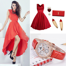 Fashion Luxury brand watches women Elegent leisure gold crystal women's quartz wrist watch red leather waterproof CASIMA #2603