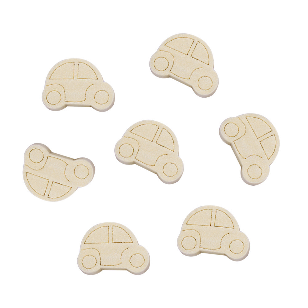 DoreenBeads Natural Color Wood Spacer Beads Car Pattern DIY Components Findings 25mm x 19mm( 6/8), Hole: Approx 1.9mm, 50 PCs
