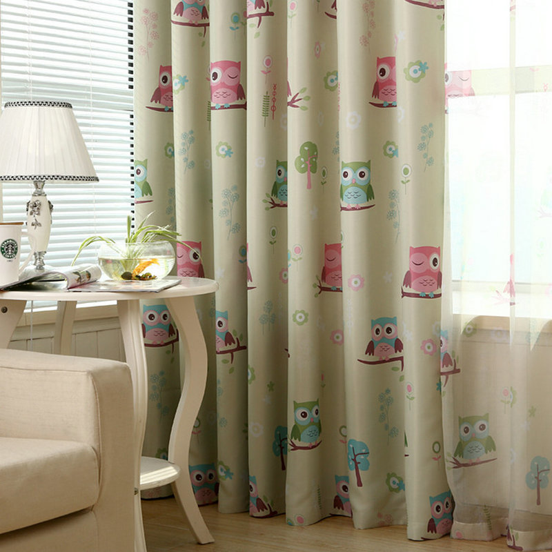 2016 cartoon owl printed kids curtain for baby room for Blackout curtains for kids rooms