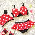 2016 NOVA Kid À Moda Do Bebê Meninas Polka Dot Bathsuit Swimhat Beachwear Swimwear Bikini Desenhos Animados Crianças Minnie Maiô