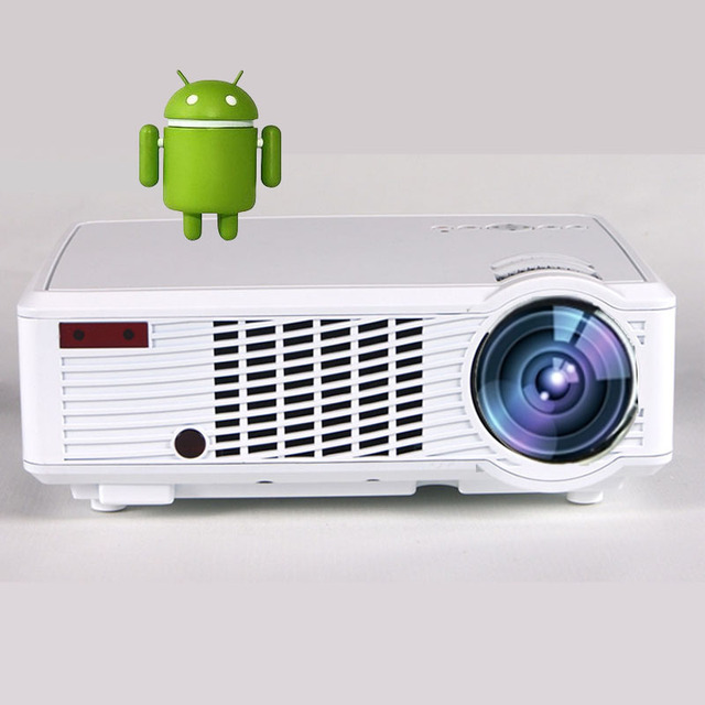 Proyector LED Pantalla con Teléfono Android 4.4 MINI Proyectores de 3000 Lúmenes Syne Miracast Airplay EZCast Inteligente Beamer proyector