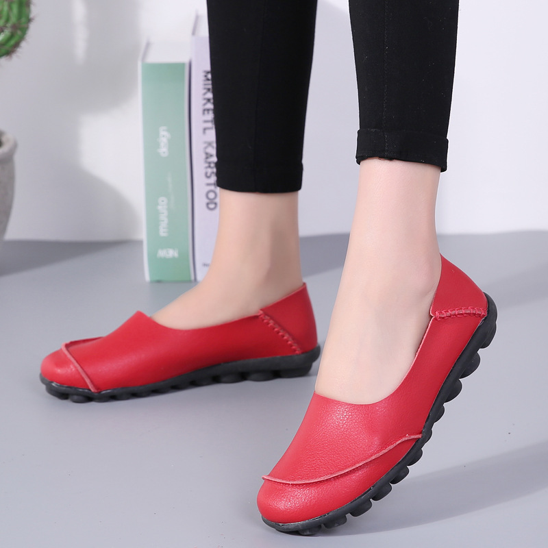 Women Shoes Plus Size Flat Genuine Leather Loafers Slip On Oxford Sapato Feminino