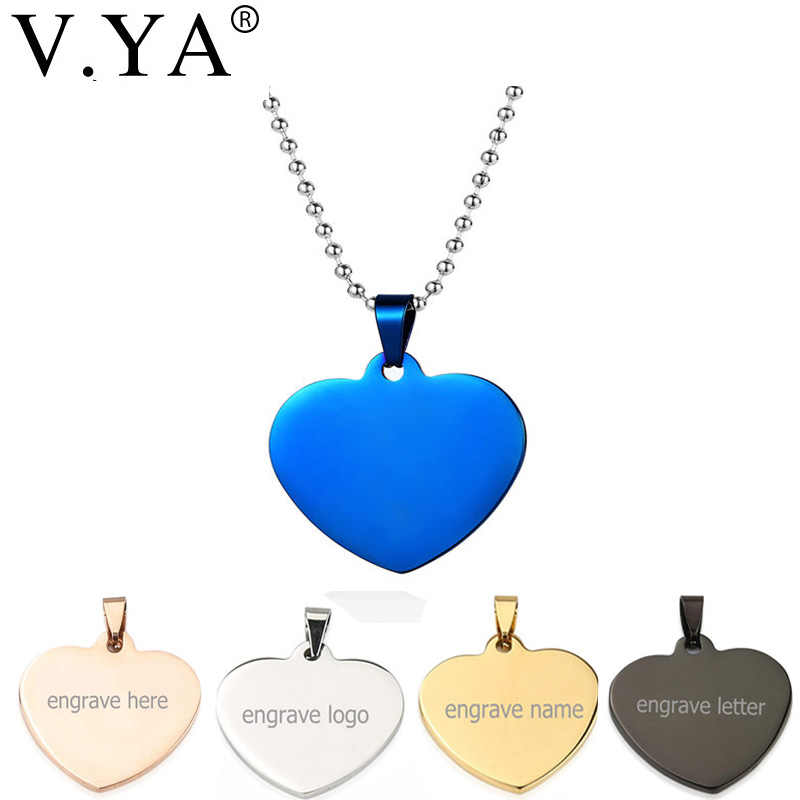 349fb08b37 V.Ya Heart-shape Stainless Steel Pendant Necklaces Unique Name ID Tag  Customized Logo
