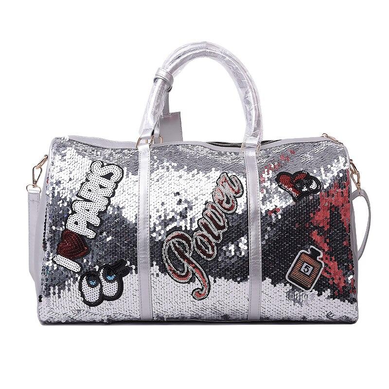 Wobag Fashion Women Travel Bag Casual Sequins Letters Man Shoulder Diagonal Handbag Large Capacity Black/Pink/Silver OutdoorTravel Bags   -