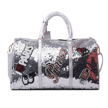 Wobag Fashion Women Travel Bag Casual Sequins Letters Man Shoulder Diagonal Handbag Large Capacity Black/Pink/Silver Outdoor