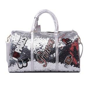 Image 1 - Wobag אופנה נשים נסיעות תיק מזדמן פאייטים מכתבי איש כתף אלכסונית תיק גדול קיבולת שחור/ורוד/כסף חיצוני