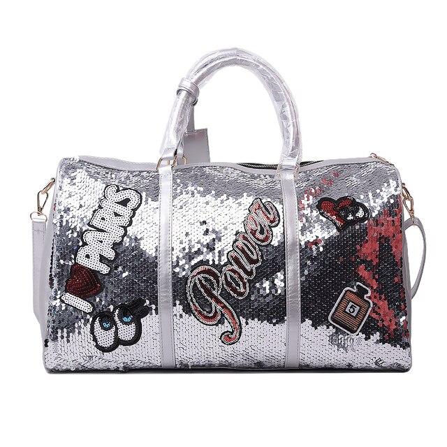 Wobag אופנה נשים נסיעות תיק מזדמן פאייטים מכתבי איש כתף אלכסונית תיק גדול קיבולת שחור/ורוד/כסף חיצוני