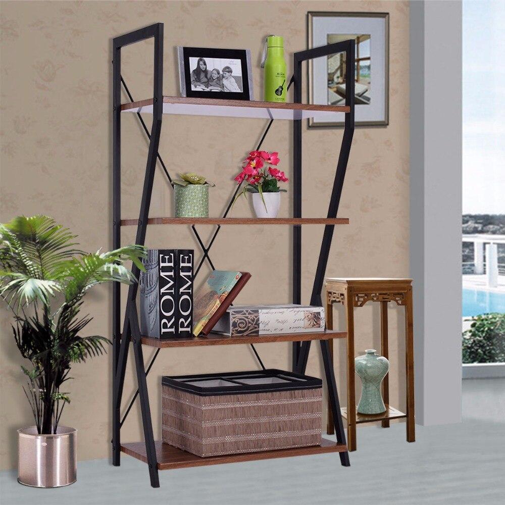 Giantex 4-tier bookshelf modern wood ladder storage rack living ...