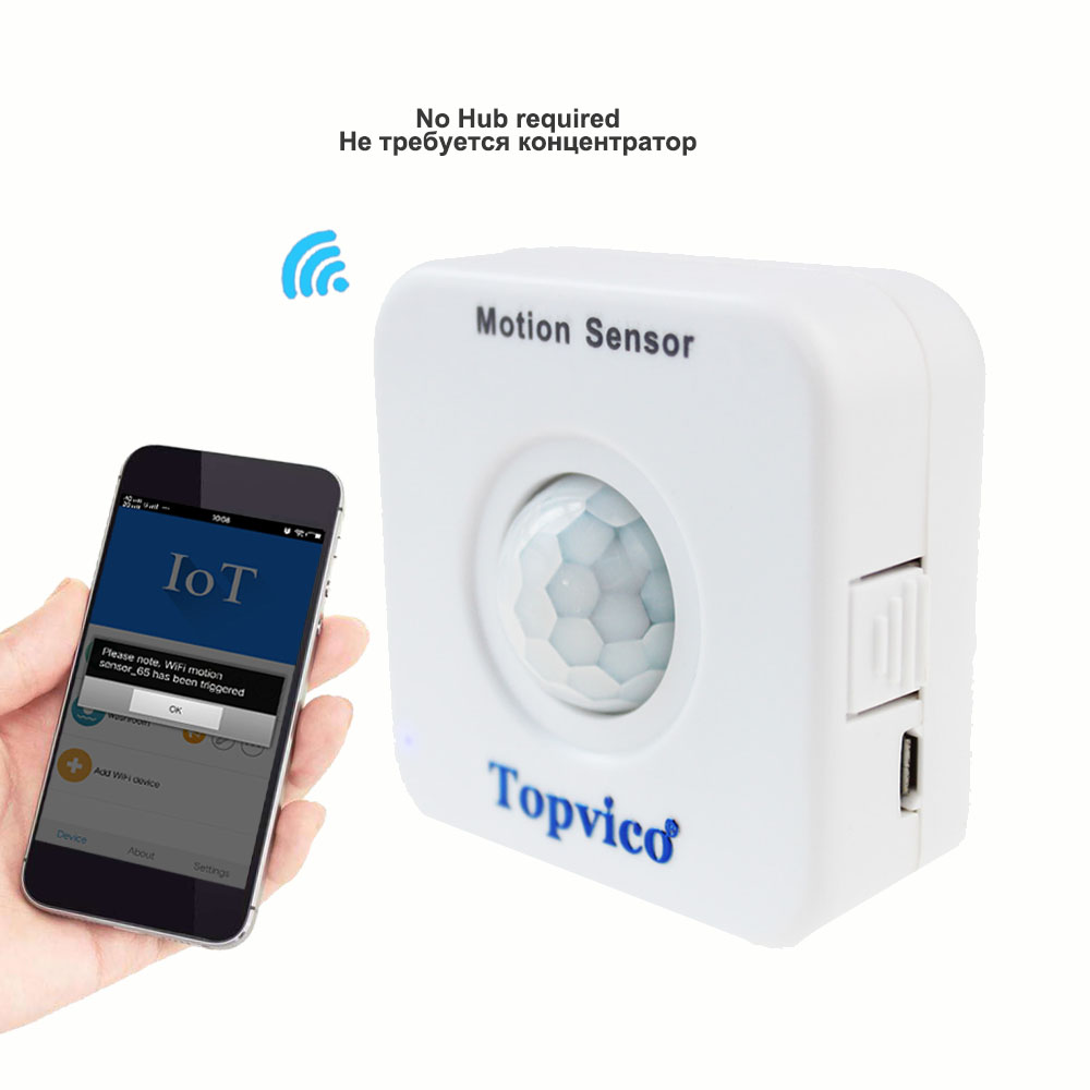 Topvico Motion Sensor WIFI Mini PIR Movement Sensor Detector Alarm Wireless Infrared Detection Window Security House Home Safety