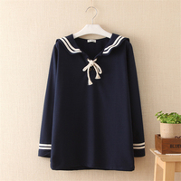 2018 Hot Salew Spring Autumn Japanese Style Long Sleeve Sailor Pullover Hoodies Women Navy Sweatshirts Knitwear Tops SS114