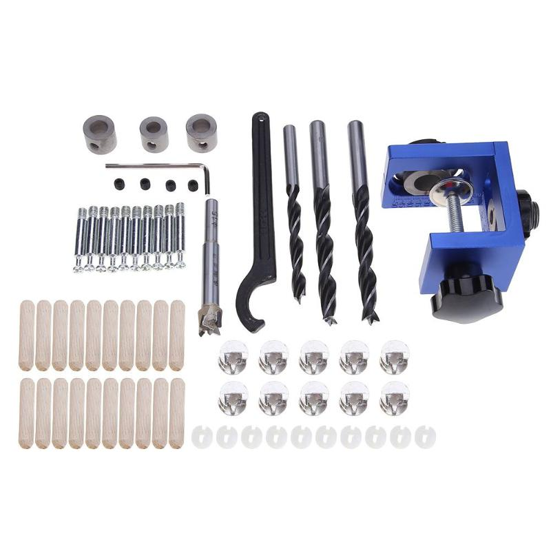 Mini Woodworking Pocket Hole Jig Kit Step Drill Bit Punching Locator Hand Tool Joinery with Wrench Screwdriver Wood Work Saw Set mini pocket hole jig kit for woodworking with 3 8 inch 9 5mm step drill bit 11 inch face clamp locking c clamp pliers ht1145
