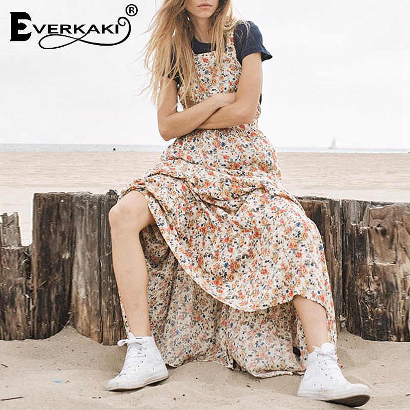 721a396e39c Detail Feedback Questions about Everkaki Women Boho Long Dress Floral Print  Backless Vestidos Spaghetti Strap Bohemian Long Dresses Female 2019 Summer  New ...