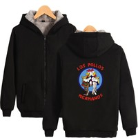 Two Step Breaking Bad Los Pollos Hermanos Hoodies With Zipper Men Women Thick Warm Winter Brand