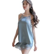 New female sexy lingerie pajamas suit lace temptation ice silk nightdress home womens