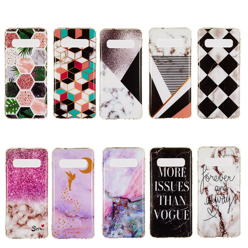 Art Marble Leaf Case For Samsung Galaxy S9 Cases For Samsung S10 E S8 Plus S7 S6 Edge Phone Cover TPU Silicone Coque