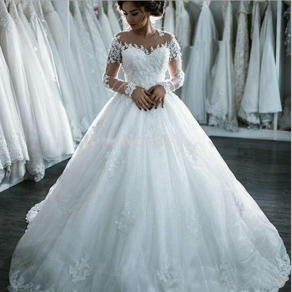Angel Bride 2017 Spring New Turtleneck Long Sleeve Wedding Dress Trailing Lace