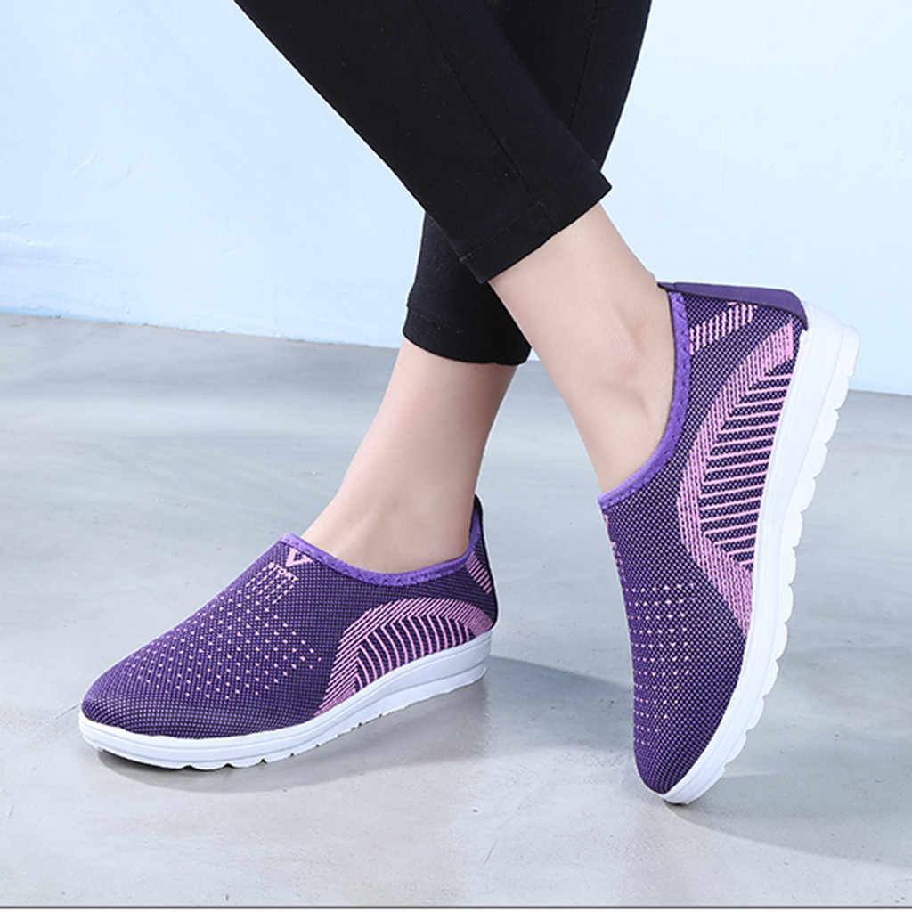Femmes appartements maille plate avec coton décontracté marche rayure baskets mocassins chaussures souples schoenen dames