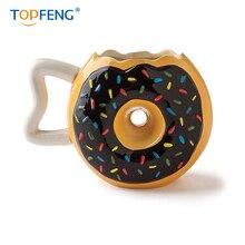TOPFENG Ceramic Cutey Donut Coffee Mug - Delicious Black Glaze Doughnut with Sprinkles