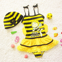 2016 children's swimwear Girls swimsuit skirt Bee children bathing suit Swim Wear Bathing Suit With Skirt and Cap