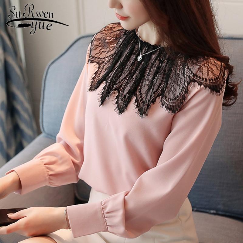 casual fashions women   blouses   2019 long sleeve chiffon   blouse     shirt   womenladies tops solid pink white blusa feminina 0869 30