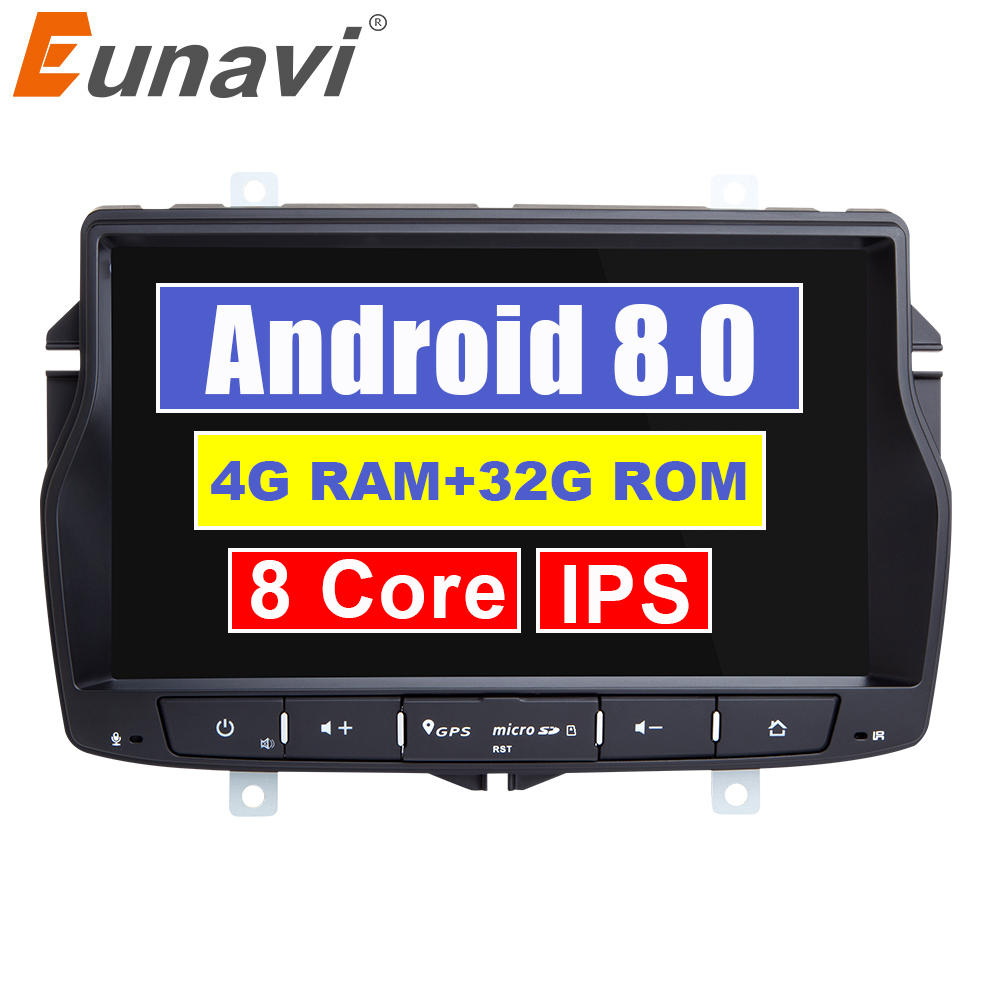 Eunavi 1 Din 7 polegada Android 8.0 Rádio Do Carro para Lada Vesta 4G RAM Octa núcleo de vídeo de navegação GPS estéreo multimídia touch screen