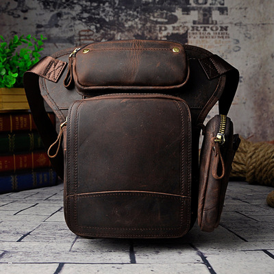 The First Layer Of Oil Wax Retro Mens Tide Cool Mobile Camera Leg Leather Wallet Three-Layer Detachable Shoulder Bag
