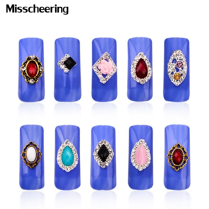 10st nieuwe 3d diamant legering nail art sieraden glitter crystal - Nagel kunst