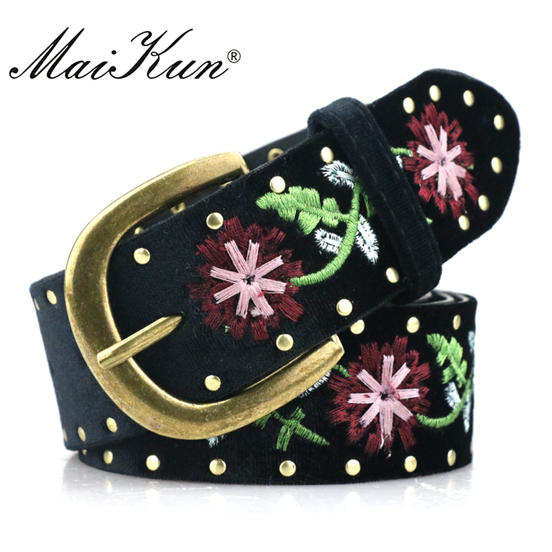 Maikun PU Leather Belts For Women Punk Embroidered Floral Pin Buckle Belt Female Waist Belt Luxury Designer Brand Belts