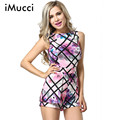 Fashion Women Summer Bodycon Jumpsuit Casual High Waist Sleeveless Floral Print Playsuit Shorts Romper Overalls Women Playsuit