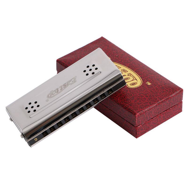 Easttop Harmonica 10 trous Blues harpe des deux côtés clé de C & G cuivre reed acier inoxydable plaque de couverture bouche orgue instruments