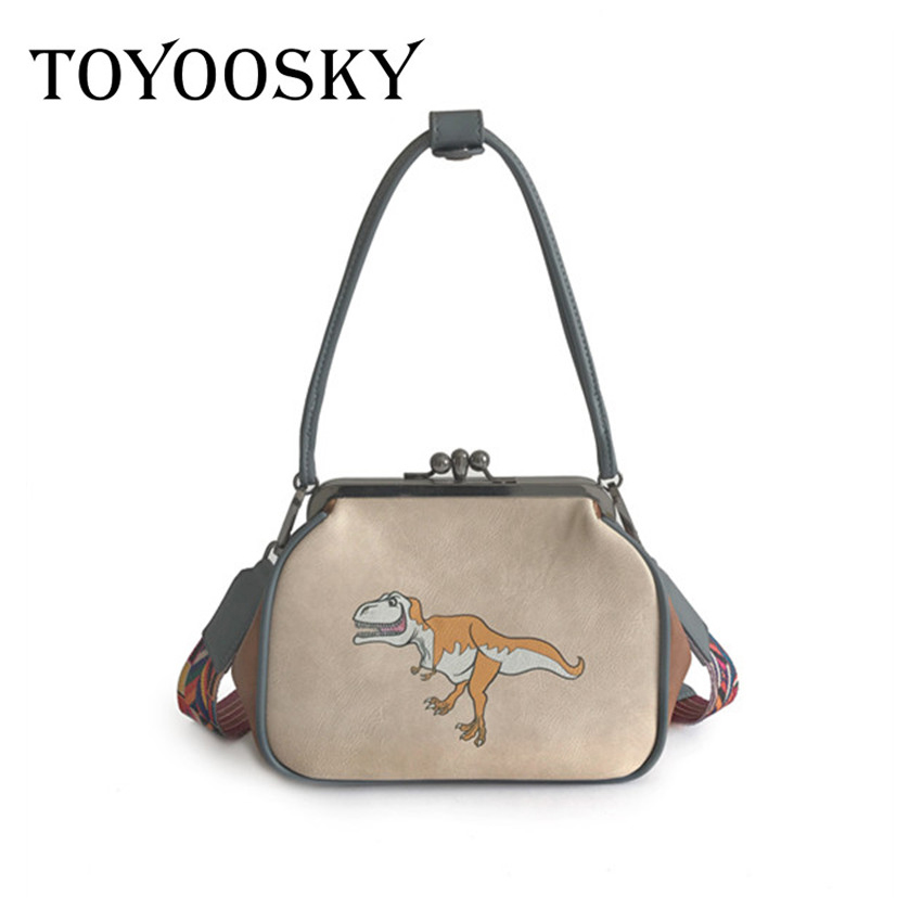 TOYOOSKY Brand Women Crossbody Bags dinosaur Printing Ladies PU Leather Shoulder metal Cilp Fashion Bolsa Feminina for Girls xiyuan brand ladies beautiful and high grade imports pu leather national floral embroidery shoulder crossbody bags for women