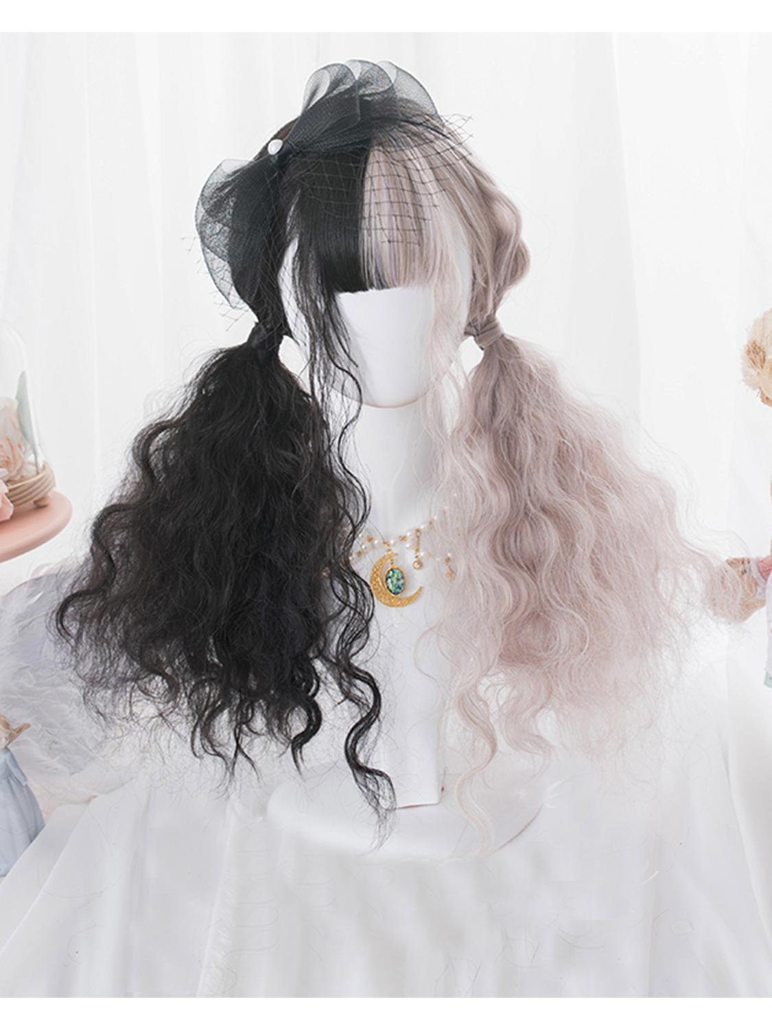 Cosplaysalon H762469C Lolita 55CM Long Curly Black Mixed Ash Pink Ombre Fringe Bangs Cute Party Synthetic Cosplay Wig