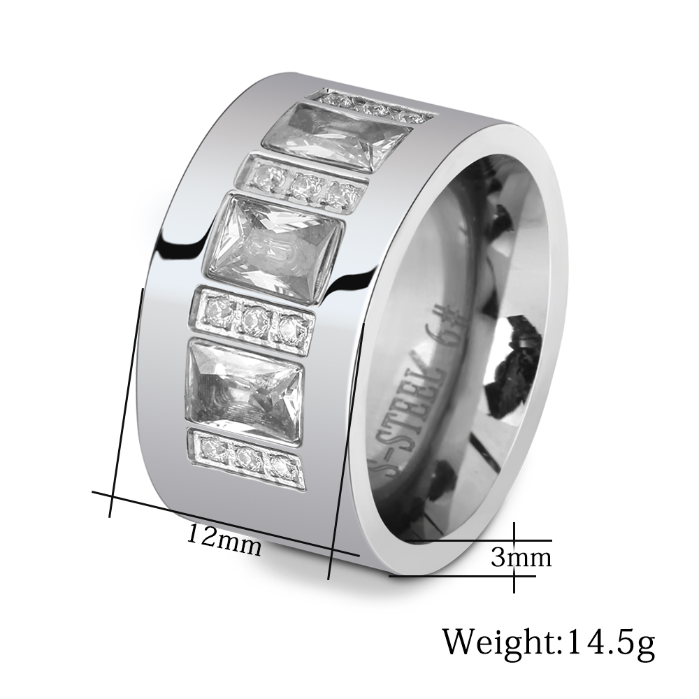 Fashion Women Crystal Rings Wholesale Yellow Gold Color Stainless Steel Wedding Rings For Women Party Jewelry NIBA Jewelry 3