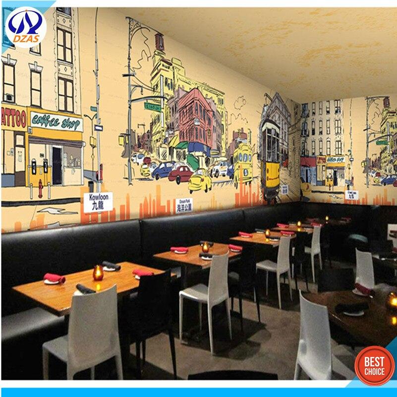 3D Граффити в стиле ретро, обои для ресторанов, кофе, чая, в гонконгском стиле, бесшовные большие обои
