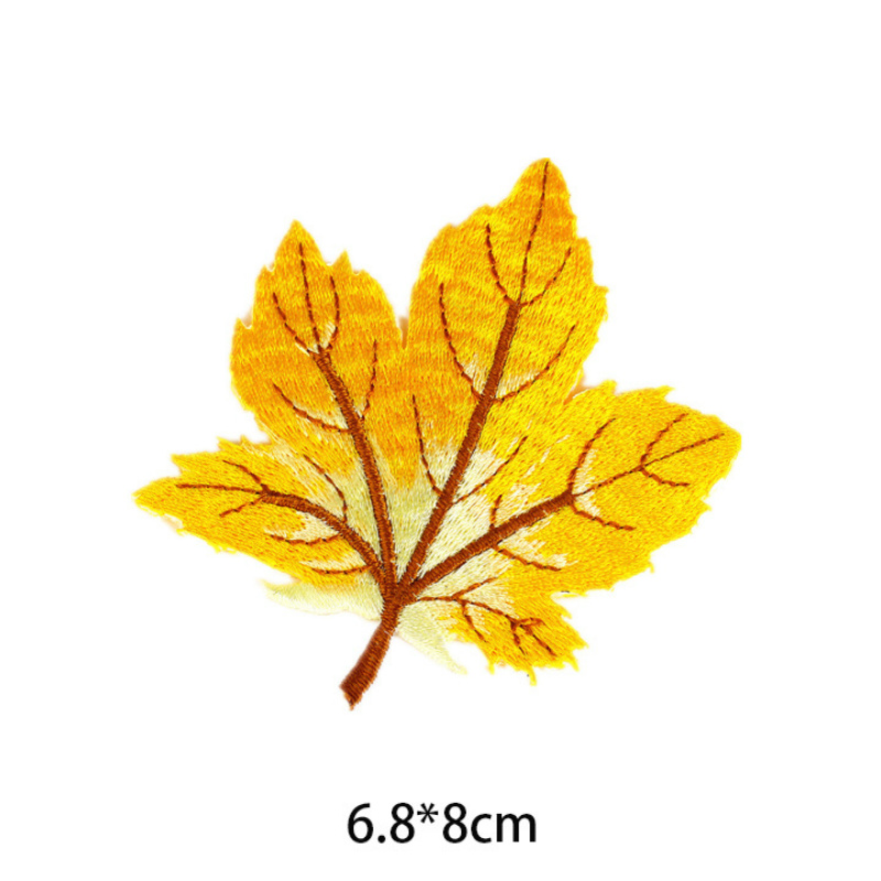 """1pc AUTUMN SILVER GREY MAPLE LEAF ~ IRON ON EMBROIDERED PATCH 2/"""" H."""