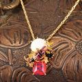 Nuevas Llegadas Esmalte Ornamento De Cristal Cristal De Galvanoplastia de Oro Plateado Abejas Traer Cola Collar de Cadena de Joyería
