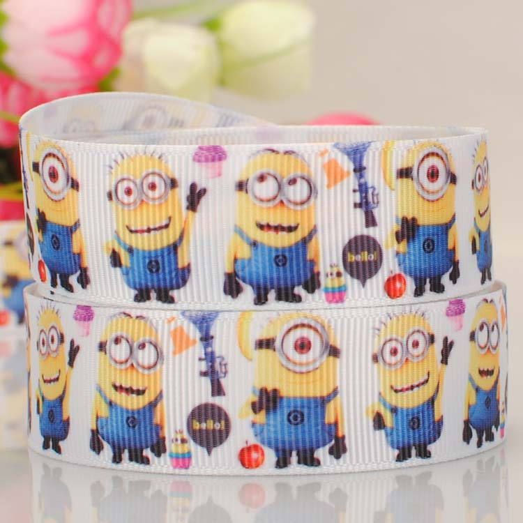 "Despicable Me Minions 22mm 7//8/"" Printed Grosgrain Ribbon Craft Cake Bows"