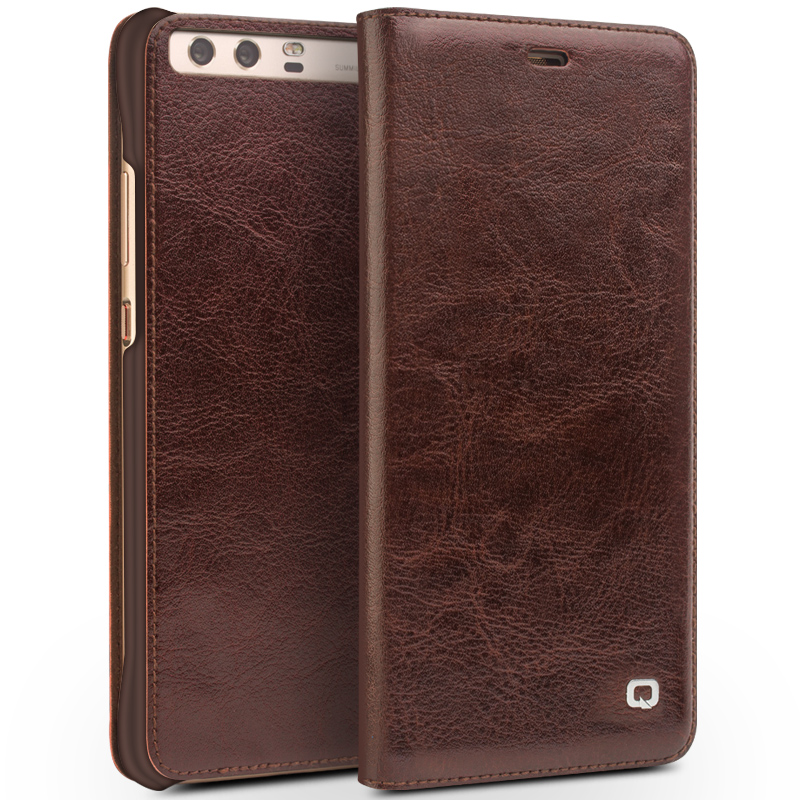 Цена за Qialino для Huawei Ascend P10 случае Роскошные из натуральной кожи флип чехол для Huawei P10 плюс откидная крышка полный защитный Чехол
