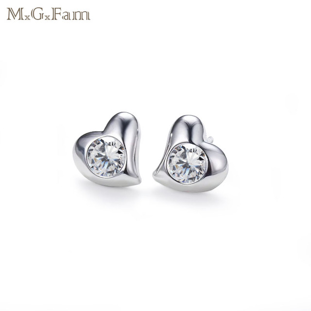 676371c4b MxGxFam Heart Stud Earrings for Love Women AAA+ Cubic Zircon Fashion  Jewelry White Gold Color Lover Gifts