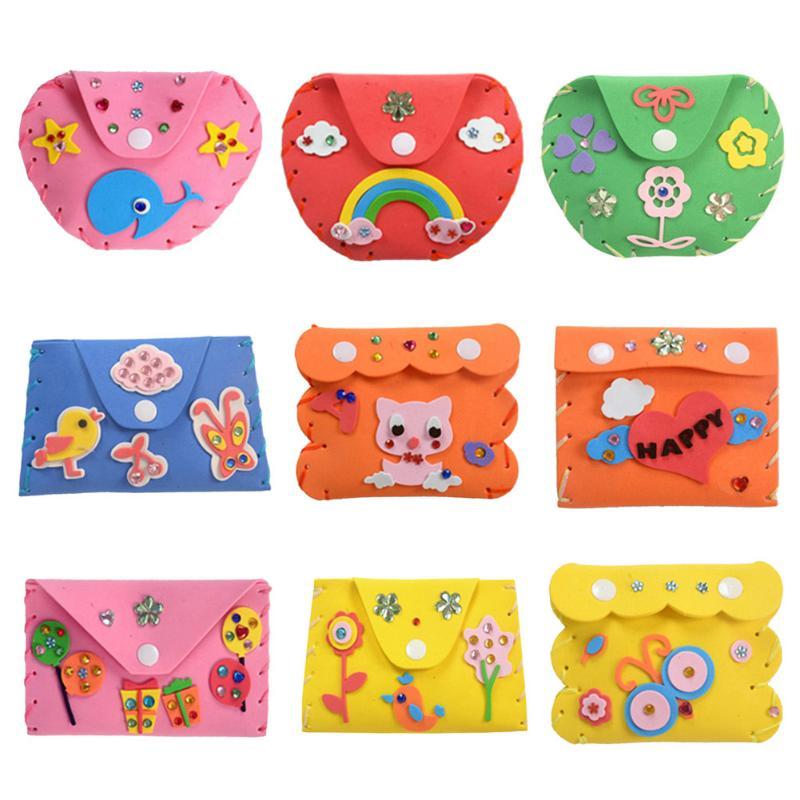 Kids DIY Craft Kits 3D Puzzle Toys Children Cartoon DIY Foam Wallets Purse Child Handmade Craft Purse Key Case Educational Toys