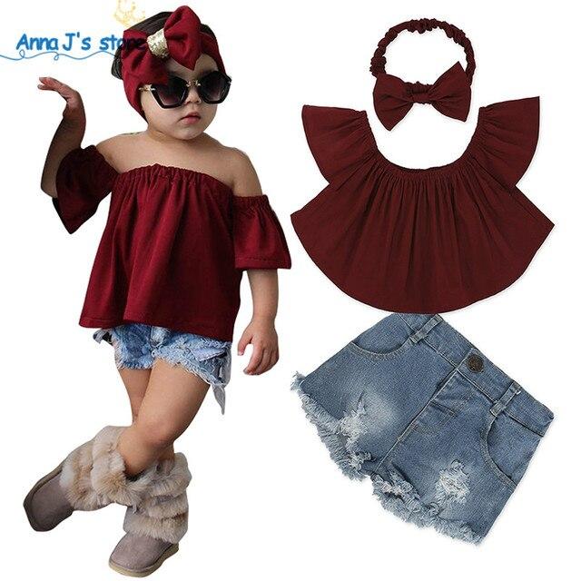 9904d88164 2019 Girls clothes suits dark red top + Jeans shorts + bow hair band 3pcs    set fashion Denim suit girls beach Party Set TZ515